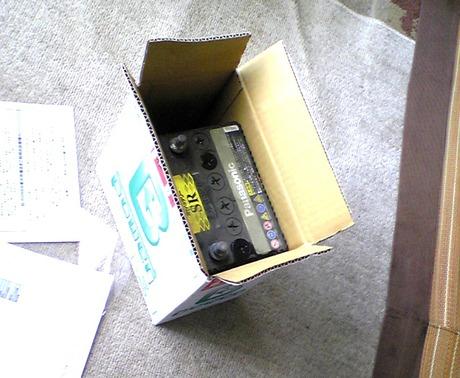 古いバッテリーを入れたところ